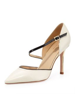 piccola asymmetric ankle strap pump, cream   kate spade new york   Cream (37.