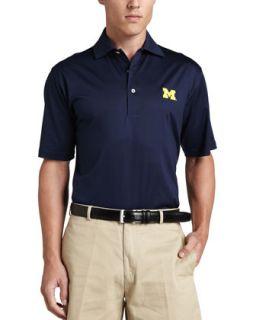 Mens Michigan Gameday College Shirt Polo, Blue   Peter Millar   Blue (LARGE)