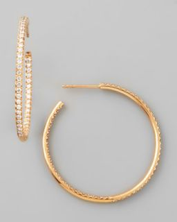 35mm Rose Gold Diamond Hoop Earrings, 1.1ct   Roberto Coin   Gold (1ct ,35mm ,