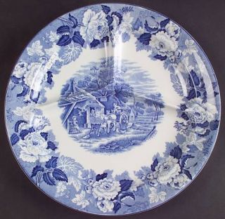 Enoch Wood & Sons English Scenery Blue (Blue Backs,Smooth) Grill Plate, Fine Chi