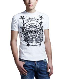 Mens Skull & Stars Graphic Tee   Dsquared2   White (LARGE)