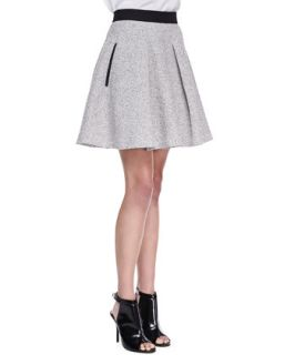 Womens Salt & Pepper A Line Tweed Skirt, Black/Classic Cream   French