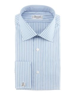 Mens Striped French Cuff Dress Shirt, Blue/White   Charvet   Blue/White (40.