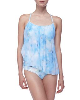 Womens Printed Asymmetric Tankini Top   Luxe by Lisa Vogel   Blue (12)