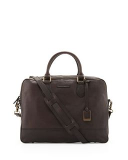 Mens James Slim Leather Briefcase, Dark Brown   Frye   Dark brown