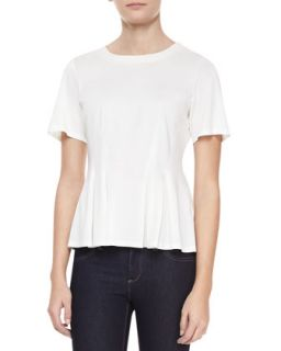Womens Mercerized Short Sleeve Pleated Top, Chalk   Rebecca Taylor   Chalk