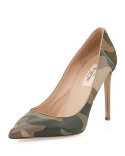 Patchwork Camo Pointed Pump, Safari   Valentino   Safari (36.5B/6.5B)