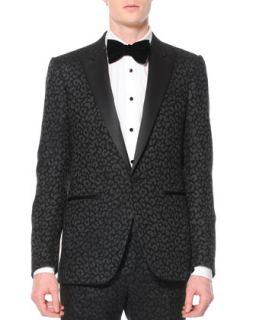 Mens Animal Print Jacquard Tuxedo Jacket, Black   Lanvin   Anthracite (54)