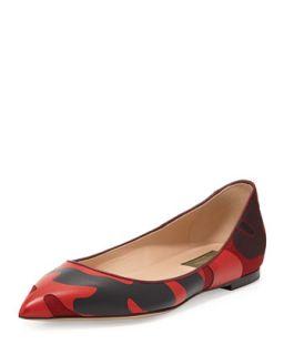 Patchwork Camo Ballerina Flat, Wine   Valentino   Scarlet/Nero (36.5B/6.5B)