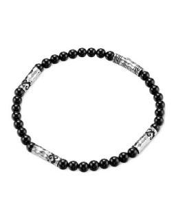 Mens Batu Dayak Silver Bead Bracelet in Onyx   John Hardy   Silver