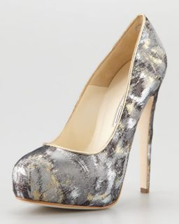 Maniac Graffiti Metallic Pump   Brian Atwood   Gold (38.0B/8.0B)