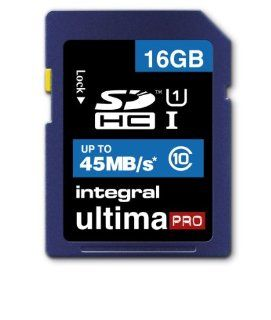 16GB Integral Ultima Pro SDHC 45MB/sec CL10 High Speed (UHS 1) memory card: Computers & Accessories