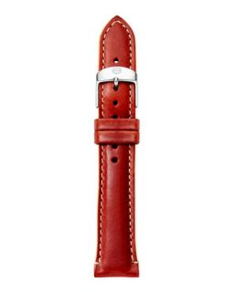 18mm Leather Watch Strap, Red/Tan   MICHELE   Red/Tan (18mm )