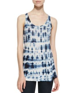 Womens City Tie Dye Linen Top, Gray   Lily Aldridge for Velvet   Grey ptrn