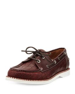 Danby Mens Croc Embossed Boat Shoe   Jimmy Choo   Red (43.0/10.0D)