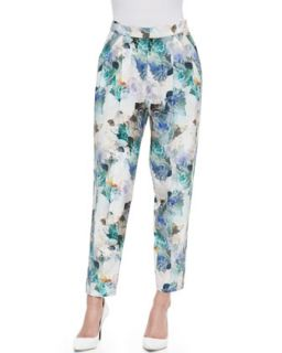 Womens Enchanted Gardens Pleated Pants   Rebecca Taylor   Aqua (10)