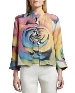 Womens Big Flower Jacket   Caroline Rose   Multi natural (SMALL (8))