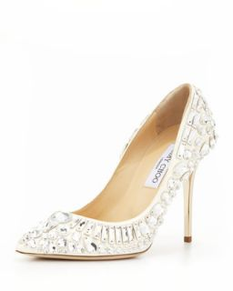 Trina Pointy Toe Jewel Pump, White   Jimmy Choo   White (37.0B/7.0B)