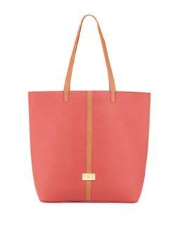 Tonya Saffiano Leather Contrast Trim Tote Bag, Cognac/Red   Badgley Mischka