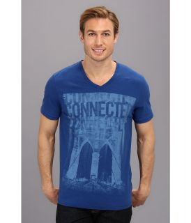 DKNY Jeans S/S Connected V Neck Tee Mens T Shirt (Blue)