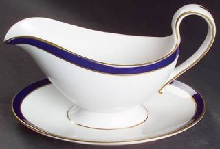 Spode Consul Cobalt Gravy Boat with Attached Underplate, Fine China Dinnerware