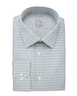 Mens Tattersall Check Dress Shirt, Rust   Ike Behar   Rust (15 1/2R)