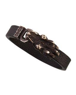 Naga Mens Dragon Head Leather Bracelet, Black   John Hardy   Black (ONE SIZE)