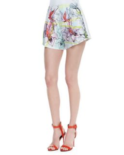 Womens Silk Floral Line Drawing Print Shorts   Clover Canyon   Multi (LARGE)