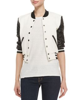 Womens Letterman Style Jacket w/ Quilted Sleeves, Cream/Black   Pam & Gela