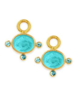 19k Gold Tiny Lion Venetian Glass Earring Pendants, Teal   Elizabeth Locke