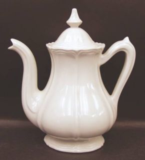Red Cliff Heirloom Coffee Pot & Lid, Fine China Dinnerware   All White,Scalloped