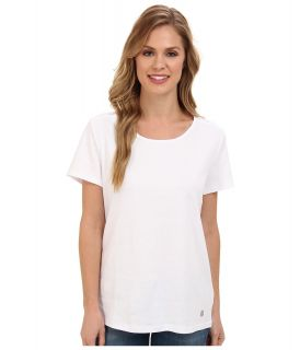 Jones New York S/S Scoop Neck w/ Insert Womens Short Sleeve Pullover (White)