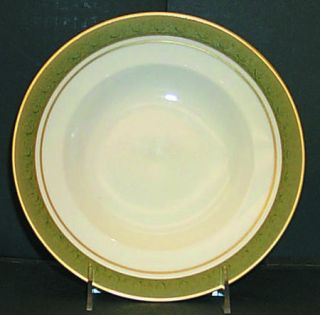 Franciscan Antique Green Rim Soup Bowl, Fine China Dinnerware   Green Embossed B