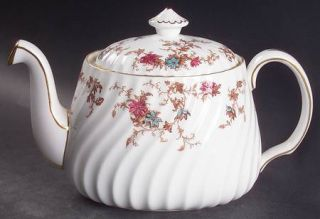 Minton Ancestral (Wreath Backstamp) Teapot & Lid, Fine China Dinnerware   Fife,