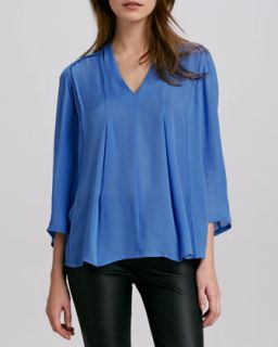 Womens Silk V Neck Blouse   Halston Heritage   Mdnt cscdng st pr (4)