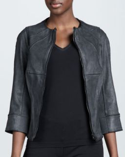 Womens Leather Front Jacket   Kaufman Franco   Charcoal (10)