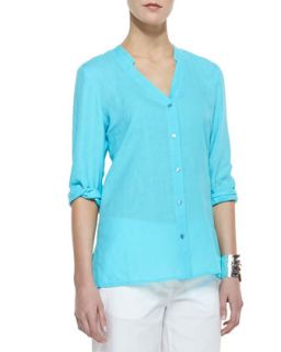 Womens Handkerchief Linen V Neck Shirt, Petite   Eileen Fisher   Deep aqua (PP