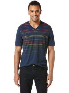 Perry Ellis Mens Multi Color Printed Stripe V Neck Tee