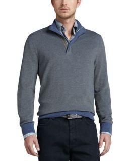 Mens Contrast Quarter Zip Waffle Sweater, Blue/Sage   Ermenegildo Zegna