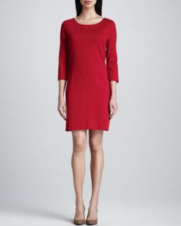 Three Quarter Sleeve Ponte Shift Dress, Womens   Joan Vass   Lipstick red (2X