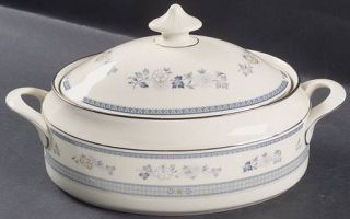 Minton Penrose Oval Covered Vegetable, Fine China Dinnerware   Blue Band,Blue,Ta