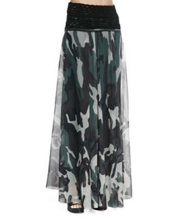 Womens Knit Waist Sheer Camouflage Skirt   Jean Paul Gaultier   verde (X SMALL)