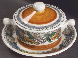 Goebel Burgund Cream Soup Bowl & Saucer Set with Lid, Fine China Dinnerware   Co