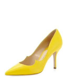 Leather Peaked Vamp Pointed Toe Pump, Yellow   Paul Andrew   Yellow (38.0B/8.0B)