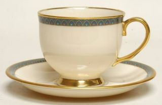 Lenox China Patriot (Gold Verge) Footed Cup & Saucer Set, Fine China Dinnerware