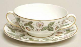 Wedgwood Strawberry Hill Flat Cream Soup Bowl & Saucer Set, Fine China Dinnerwar