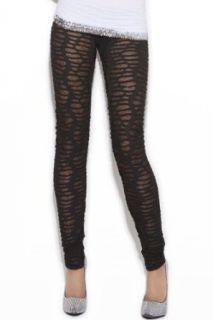 Sexy See Through Black Ripped Leggings   Small: Leggings Pants: Clothing