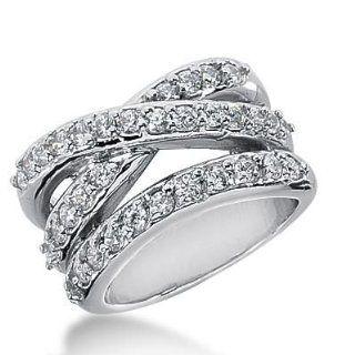 14k Gold Diamond Anniversary Wedding Ring 36 Round Brilliant Diamonds 1.48 ctw. 340WR148414K: Wedding Bands Wholesale: Jewelry