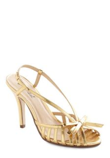 Surprise and Shine Heel in Gold  Mod Retro Vintage Heels