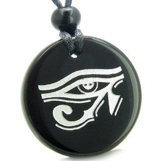 Amulet All Seeing Eye of Horus Egyptian Magic Protection Powers Genuine Black Onyx Medallion Circle Pendant Necklace Best Amulets Jewelry